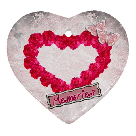 Rose Heart Memories Heart Ornament By Ellan   Ornament (heart)   Ncigb6wxfhlb   Www Artscow Com Front