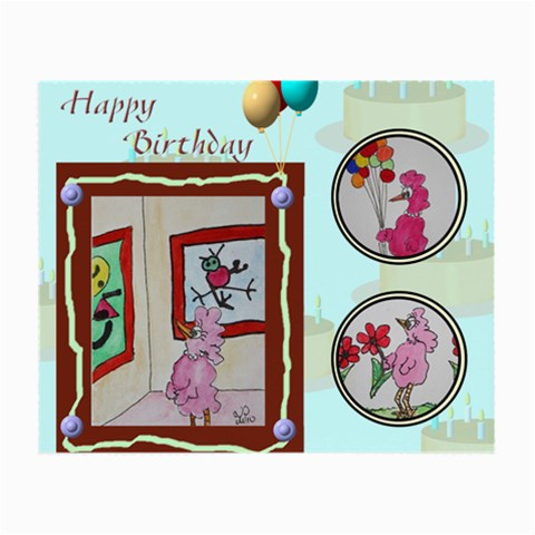 Happy Birthday Pink Bird By Trine   Small Glasses Cloth   Qh9eqhygkg48   Www Artscow Com Front