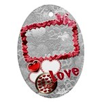 Love Heart oval ornament - Ornament (Oval)