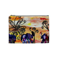 Indian Elephants Cosmetic Bag (Medium) by kewzooA