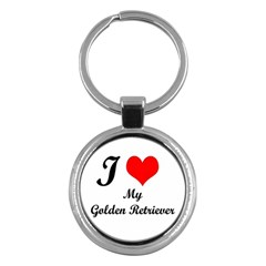I Love Golden Retriever Key Chain (Round) by mydogbreeds