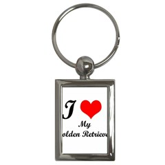 I Love Golden Retriever Key Chain (Rectangle) by mydogbreeds