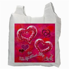 Hearts Hot Pink Recycle Bag 2 Sides By Ellan   Recycle Bag (two Side)   Nk6lwyspyccf   Www Artscow Com Back