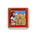 tigris-red - Rubber Coaster (Square)