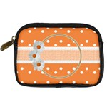 Orange daisy camera leather case - Digital Camera Leather Case