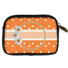 Orange Daisy Camera Leather Case By Daniela   Digital Camera Leather Case   Xlfxnyt85ds1   Www Artscow Com Back