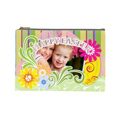 Happy Easter By Joely   Cosmetic Bag (large)   87qibjjeoyxr   Www Artscow Com Front