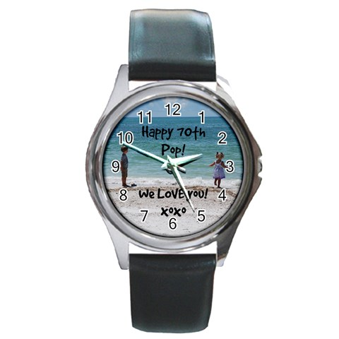 Dad By Kathi   Round Metal Watch   Q63l1fvm84x5   Www Artscow Com Front