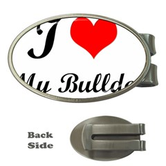 I Love My Bulldog Money Clip (oval) by adriantesting