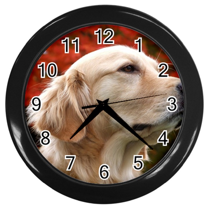 dog-photo cute Wall Clock (Black)