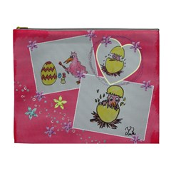 Easter Eggs And Pink Chicks By Trine   Cosmetic Bag (xl)   Hkynphs42uxc   Www Artscow Com Front