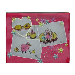 Easter Eggs And Pink Chicks By Trine   Cosmetic Bag (xl)   Hkynphs42uxc   Www Artscow Com Back