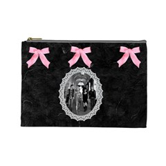 Black & Pink Bow Lg Cosmetic Bag By Kim White   Cosmetic Bag (large)   6x6yuxa788xk   Www Artscow Com Front