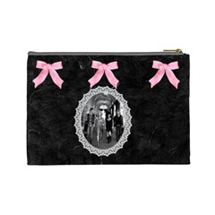 Black & Pink Bow Lg Cosmetic Bag By Kim White   Cosmetic Bag (large)   6x6yuxa788xk   Www Artscow Com Back