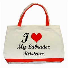 I Love My Labrador Retriever Classic Tote Bag (red)