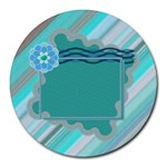 Blue flower mousepad - Round Mousepad