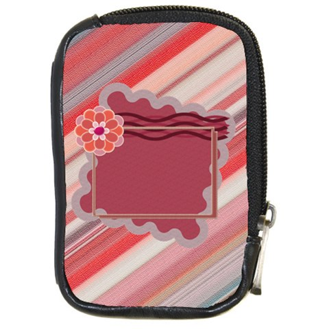 Red Flower Leather Case By Daniela   Compact Camera Leather Case   F2rpi7wokxw5   Www Artscow Com Front