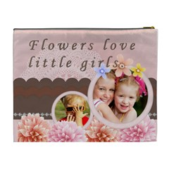 Flowers Love Little Girls By Joely   Cosmetic Bag (xl)   Xi0b6ji6nzeb   Www Artscow Com Back