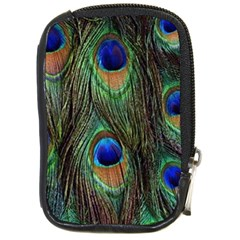 Peacock Feathers Compact Camera Leather Case by photogiftanimaldesigns
