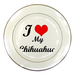 I Love My Chihuahua Porcelain Plate by CowCowDemo