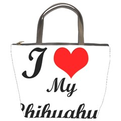 I Love My Chihuahua Bucket Bag by CowCowDemo