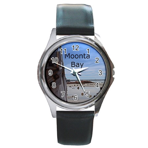 Moonta Bay Jetty Round Metal Watch By Chris   Round Metal Watch   Xuli8rtbmyoz   Www Artscow Com Front