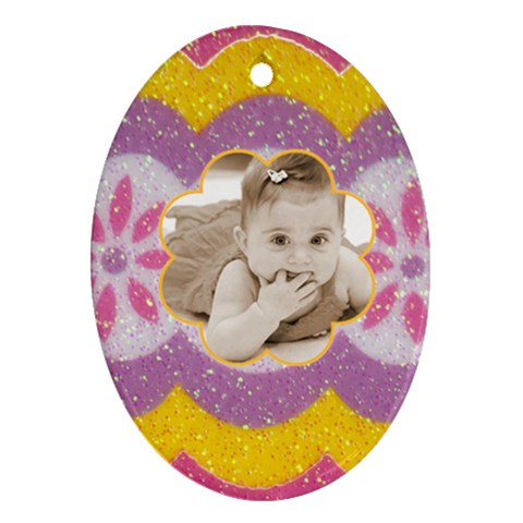 Easter Egg Oval Ornament By Catvinnat   Ornament (oval)   6ujgdhd1xqgo   Www Artscow Com Front