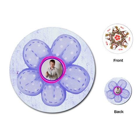 Flower Power Round Floral Playing Cards By Catvinnat   Playing Cards (round)   7hoko6vvvi3p   Www Artscow Com Front