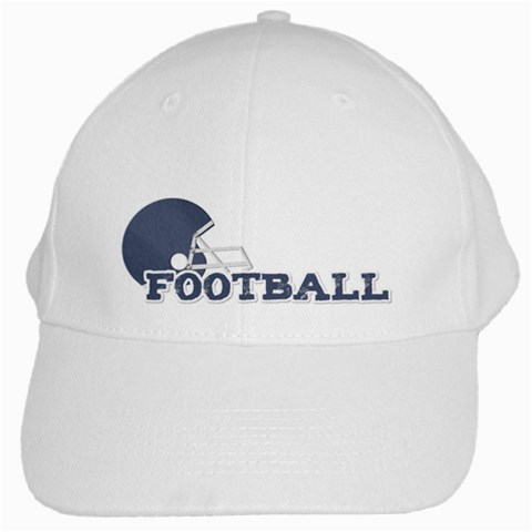 Touchdown (green And Blue) Hat By Chelsea Winsor   White Cap   Yfuhqe64u28c   Www Artscow Com Front