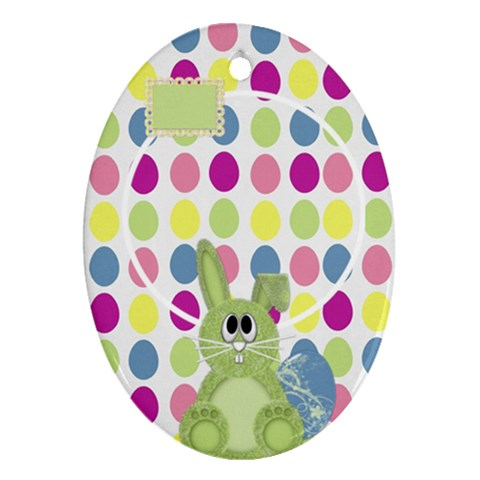 Eggzactly Spring Easter Ornament 1 By Lisa Minor   Ornament (oval)   5mn5zx73au0d   Www Artscow Com Front