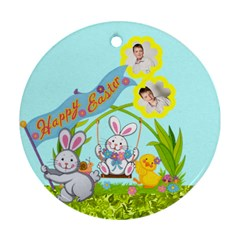Happy Easter Double Sided Bunny Flower Ornament By Catvinnat   Round Ornament (two Sides)   2lx65e5rabyo   Www Artscow Com Front