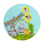 Happy Easter double sided bunny flower ornament - Round Ornament (Two Sides)