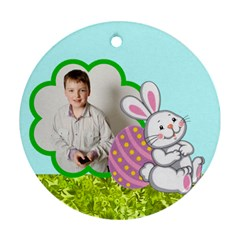 Happy Easter Double Sided Bunny Flower Ornament By Catvinnat   Round Ornament (two Sides)   2lx65e5rabyo   Www Artscow Com Back