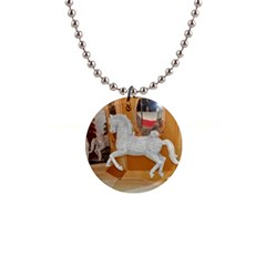 White Horse 1  Button Necklace by berry3333