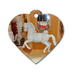 White Horse Dog Tag Heart (one Side) by berry3333