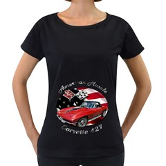 Chevy Corvette 427 Maternity Black T-Shirt by BlueRidgeArtisans