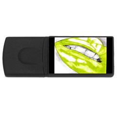 Hot Lips Lime/Black USB Flash Drive Rectangular (2 GB) by Handdrawn