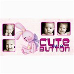 Cute As a Button Pink Bunny Photo Card - 4  x 8  Photo Cards
