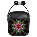 Fractal Pink Star Girls Sling Bag
