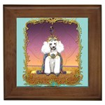 White Poodle Prince Framed Tile