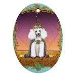 White Poodle Prince Ornament (Oval)