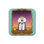 White Poodle Prince Rubber Square Coaster (4 pack)