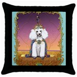 White Poodle Prince Throw Pillow Case (Black)
