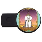 White Poodle Prince USB Flash Drive Round (2 GB)
