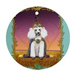 White Poodle Prince Round Ornament (Two Sides)