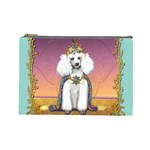 White Poodle Prince Cosmetic Bag (Large)