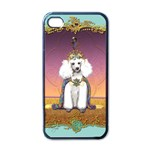 White Poodle Prince Apple iPhone 4 Case (Black)
