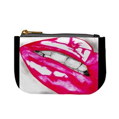 Hot Lips Pink/Black Mini Coin Purse by Handdrawn