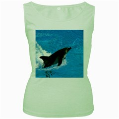 Swimming Dolphin Women s Green Tank Top by knknjkknjdd