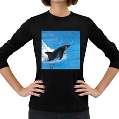 Swimming Dolphin Women s Long Sleeve Dark T Shirt